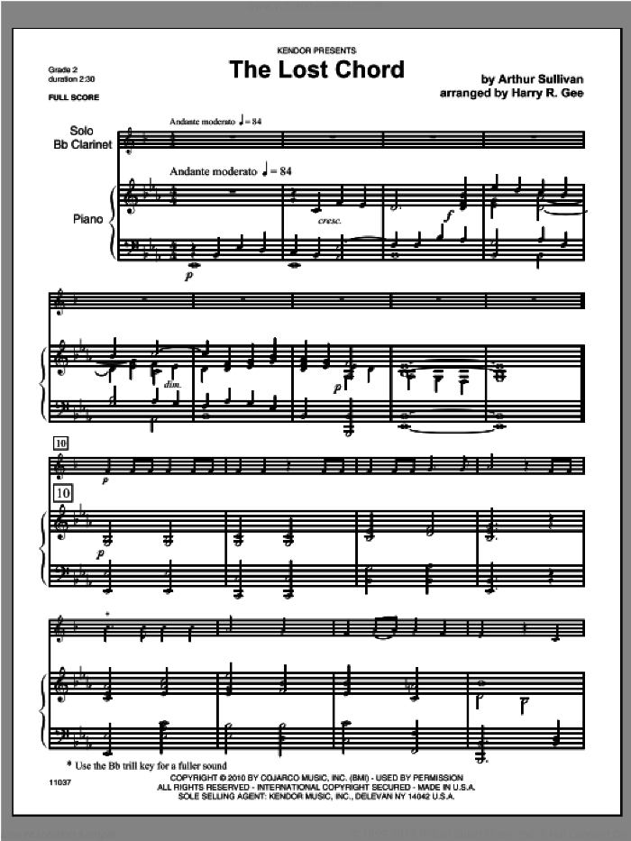 Lost Chord, The sheet music for clarinet and piano (piano/score) by Sullivan