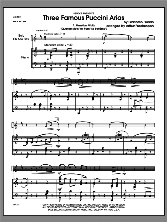 Three Famous Puccini Arias (COMPLETE) sheet music for alto saxophone and piano by Giacomo Puccini and Steve Frackenpohl, classical score, intermediate skill level