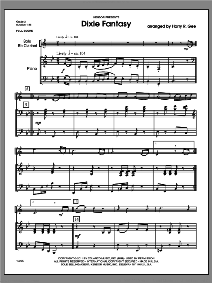 Dixie Fantasy (COMPLETE) sheet music for clarinet and piano by Gee, classical score, intermediate