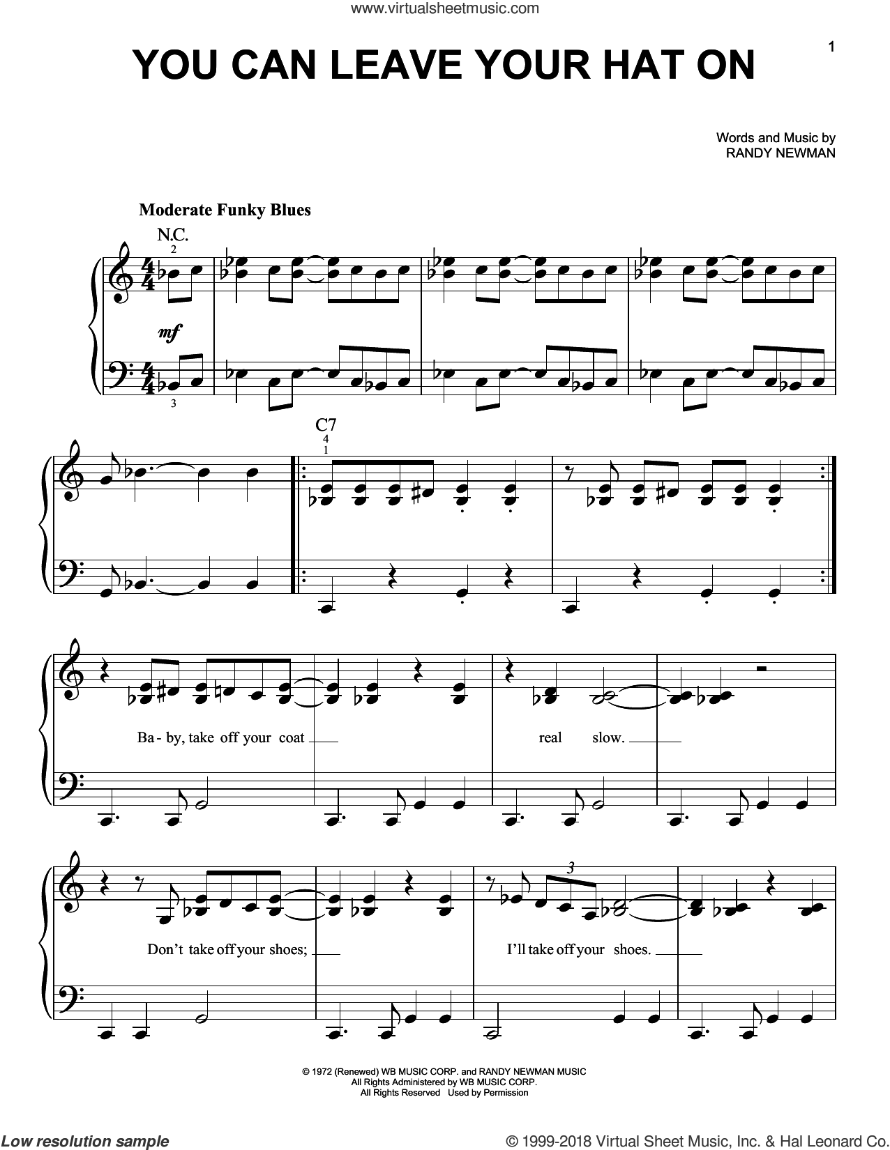 You Can Leave Your Hat On sheet music for piano solo by Joe Cocker and Randy Newman, beginner skill level