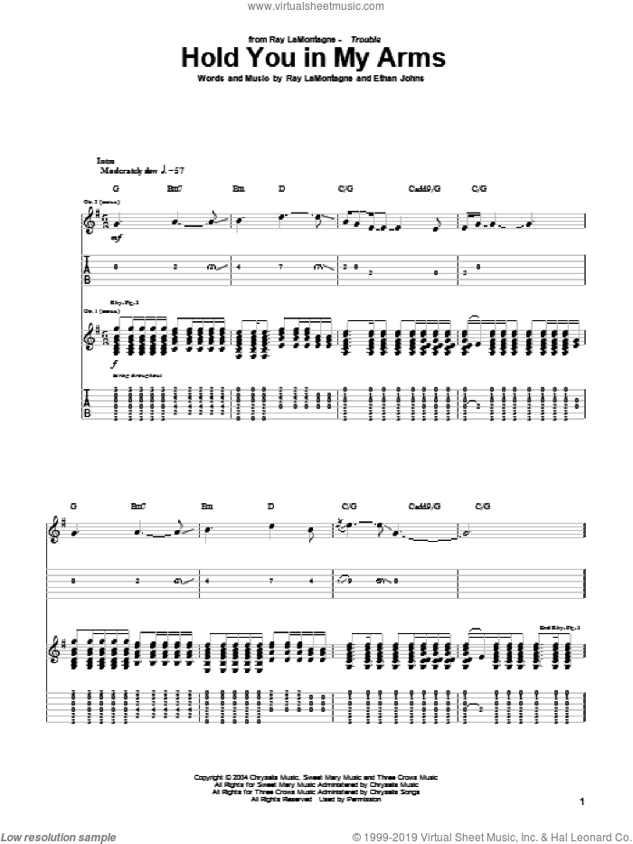 Hold You In My Arms sheet music for guitar (tablature) by Ray LaMontagne and Ethan Johns, intermediate skill level