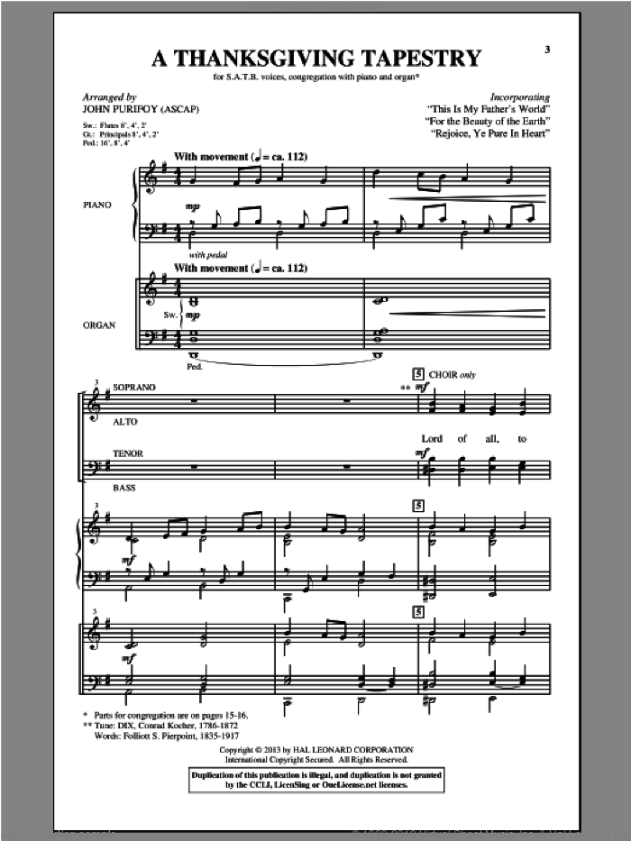 A Thanksgiving Tapestry sheet music for choir by John Purifoy, intermediate. Score Image Preview.