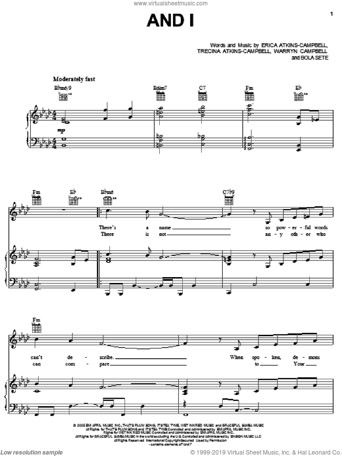 And I sheet music for voice, piano or guitar by Mary Mary, Bola Sete, Erica Atkins-Campbell, Trecina Atkins-Campbell and Warryn Campbell, intermediate. Score Image Preview.