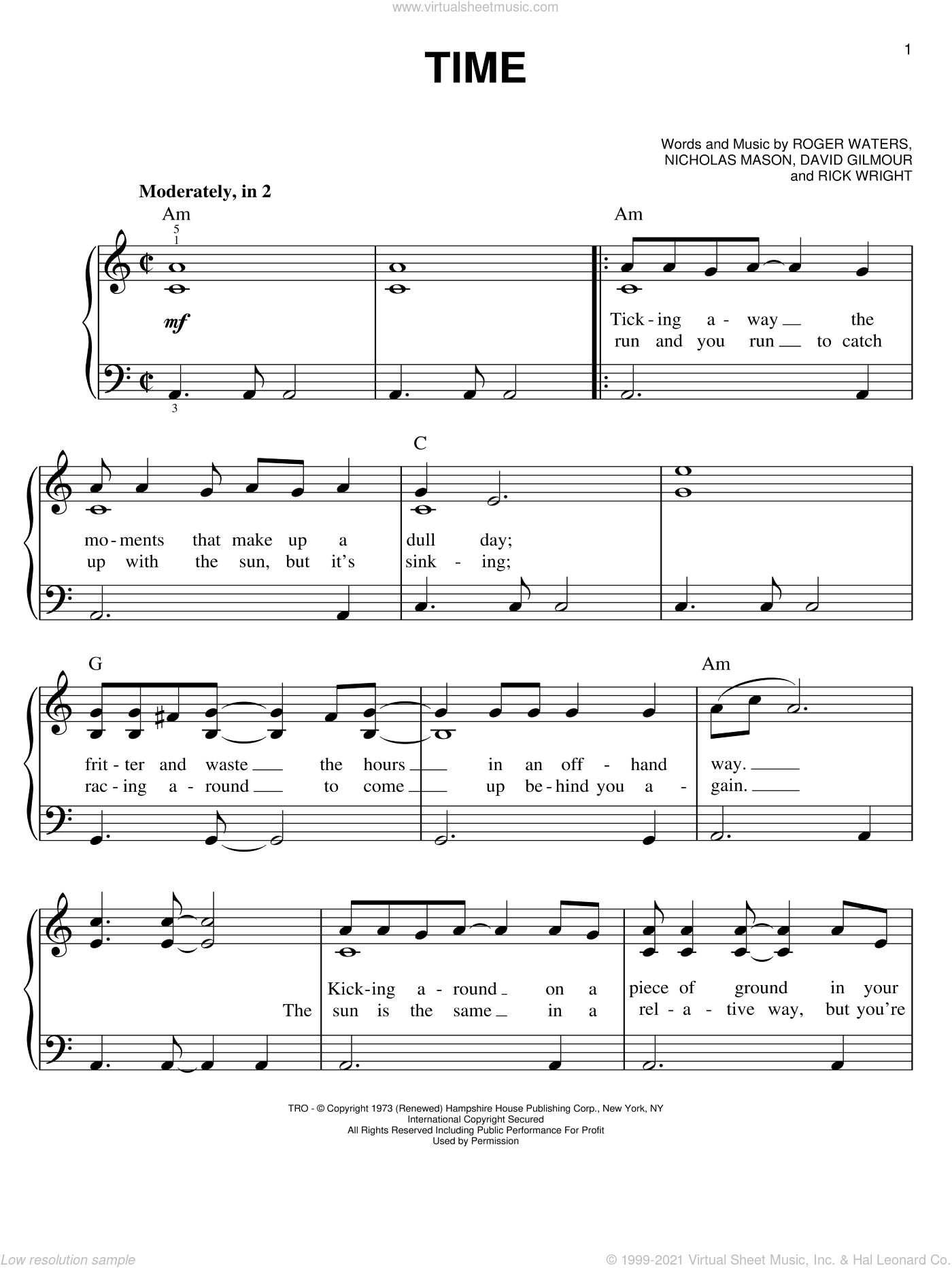 Time sheet music for piano solo by Pink Floyd, David Gilmour, Nicholas Mason, Richard Wright and Roger Waters, classical score, easy skill level