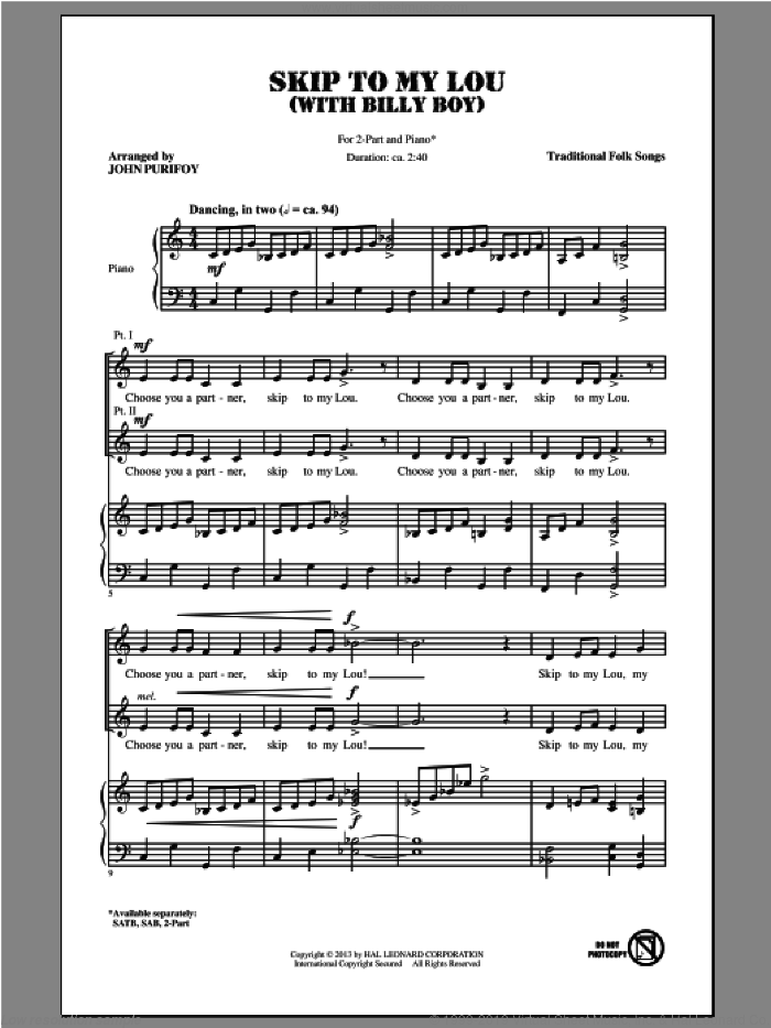 Billy Boy sheet music for choir (2-Part) by John Purifoy and Miscellaneous, classical score, intermediate duet