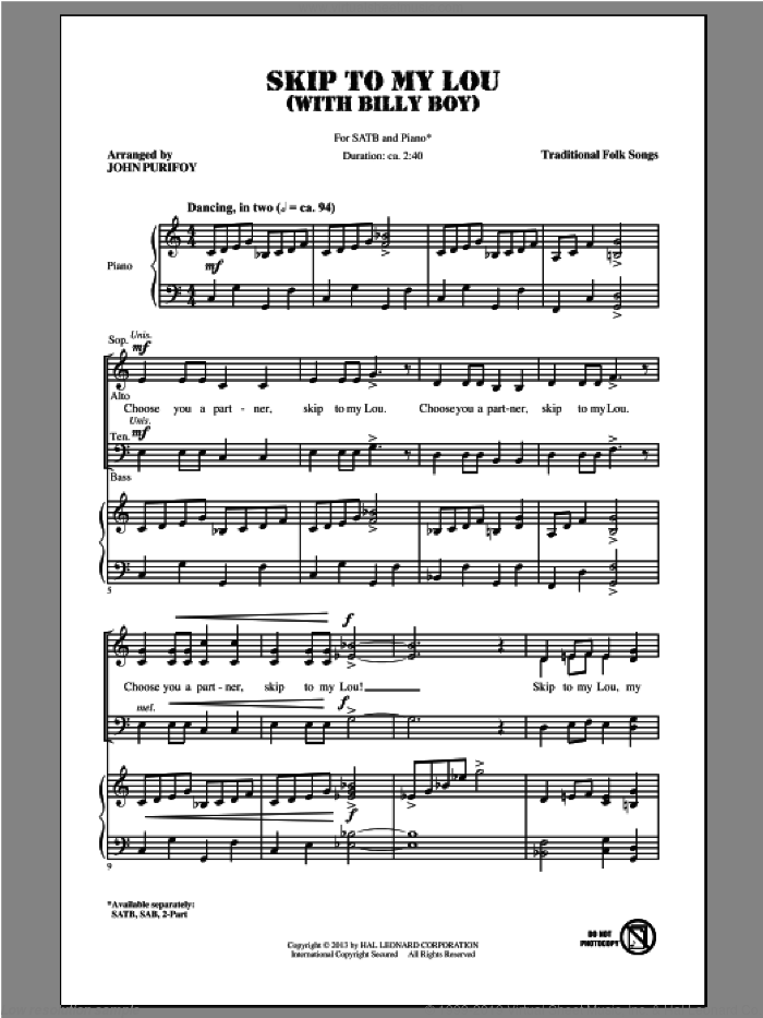 Billy Boy sheet music for choir (SATB) by John Purifoy and Miscellaneous. Score Image Preview.