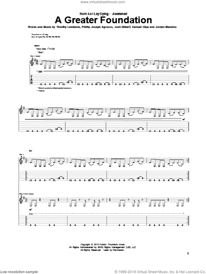 A Greater Foundation sheet music for guitar (tablature) by As I Lay Dying, intermediate skill level