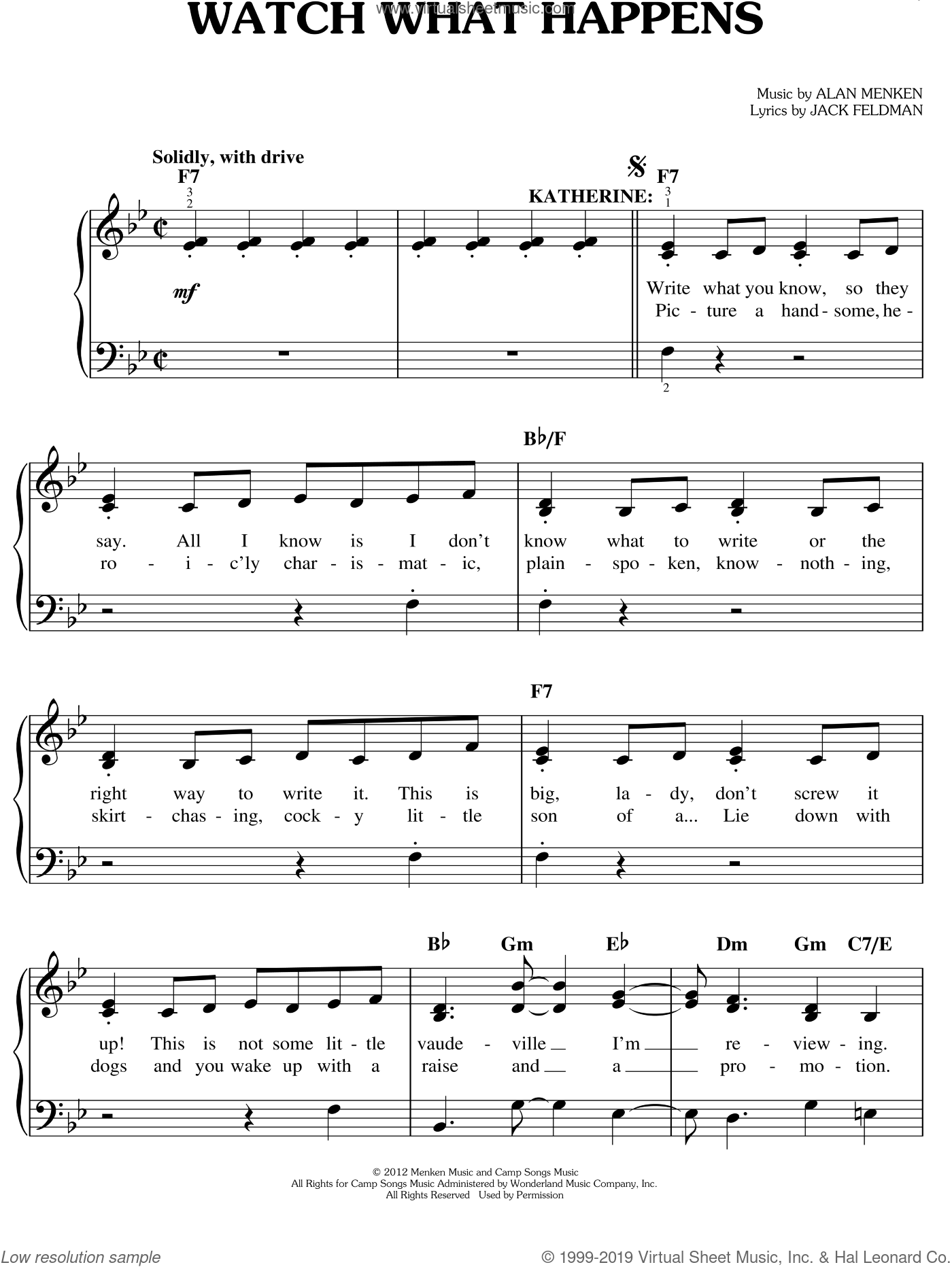 Watch What Happens sheet music for piano solo by Alan Menken, Jack Feldman and Newsies (Musical), easy skill level