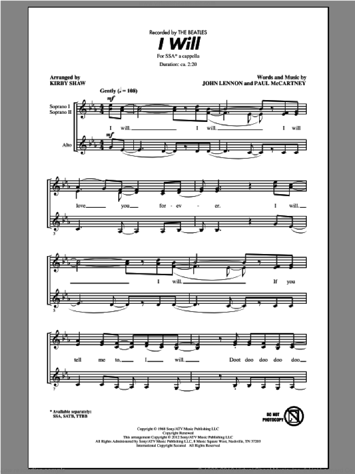 I Will sheet music for choir (SSA: soprano, alto) by The Beatles and Kirby Shaw, intermediate. Score Image Preview.
