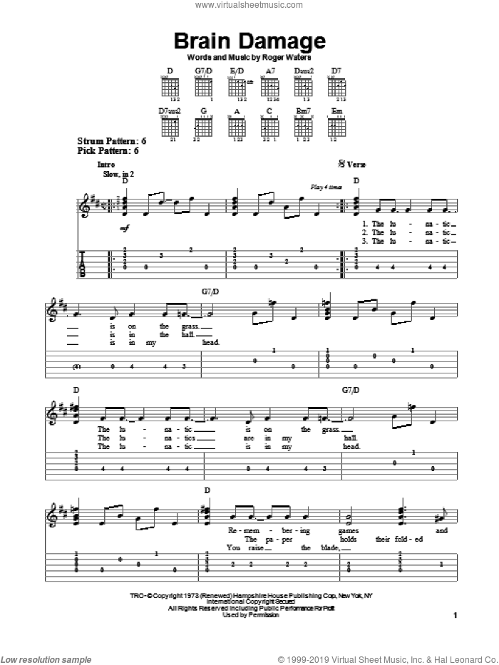 Brain Damage sheet music for guitar solo (easy tablature) by Pink Floyd and Roger Waters. Score Image Preview.