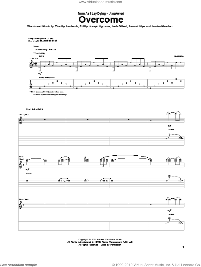Overcome sheet music for guitar (tablature) by As I Lay Dying, intermediate skill level