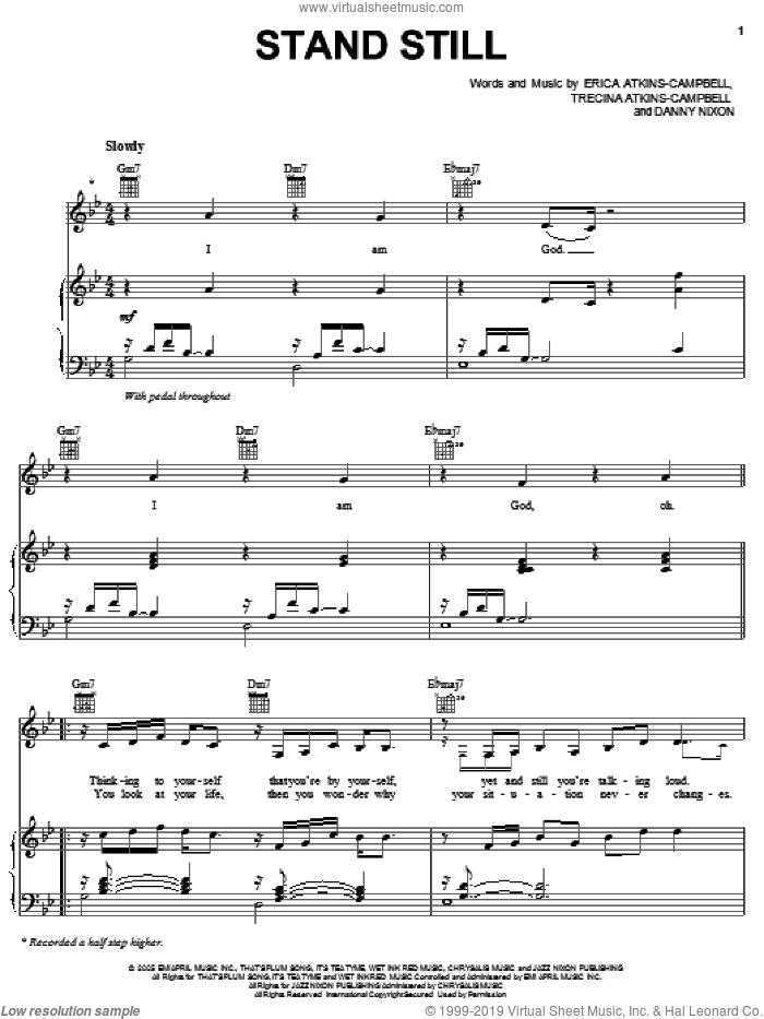 Stand Still sheet music for voice, piano or guitar by Trecina Atkins-Campbell. Score Image Preview.