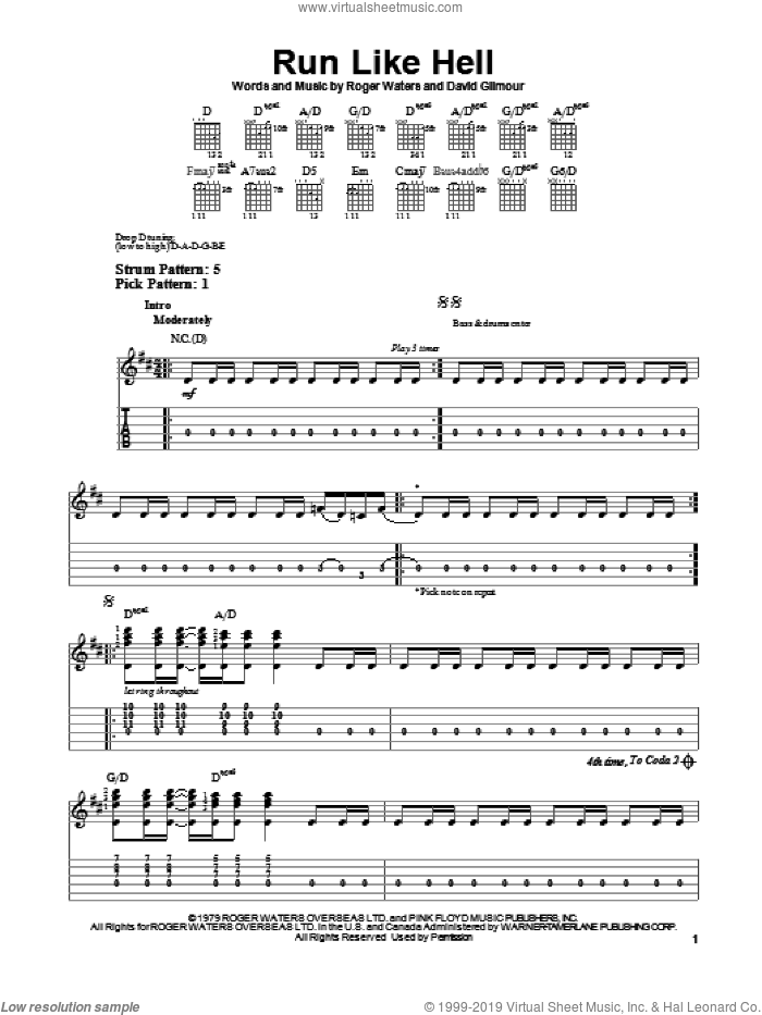 Run Like Hell sheet music for guitar solo (easy tablature) by Pink Floyd, David Gilmour and Roger Waters, easy guitar (easy tablature)