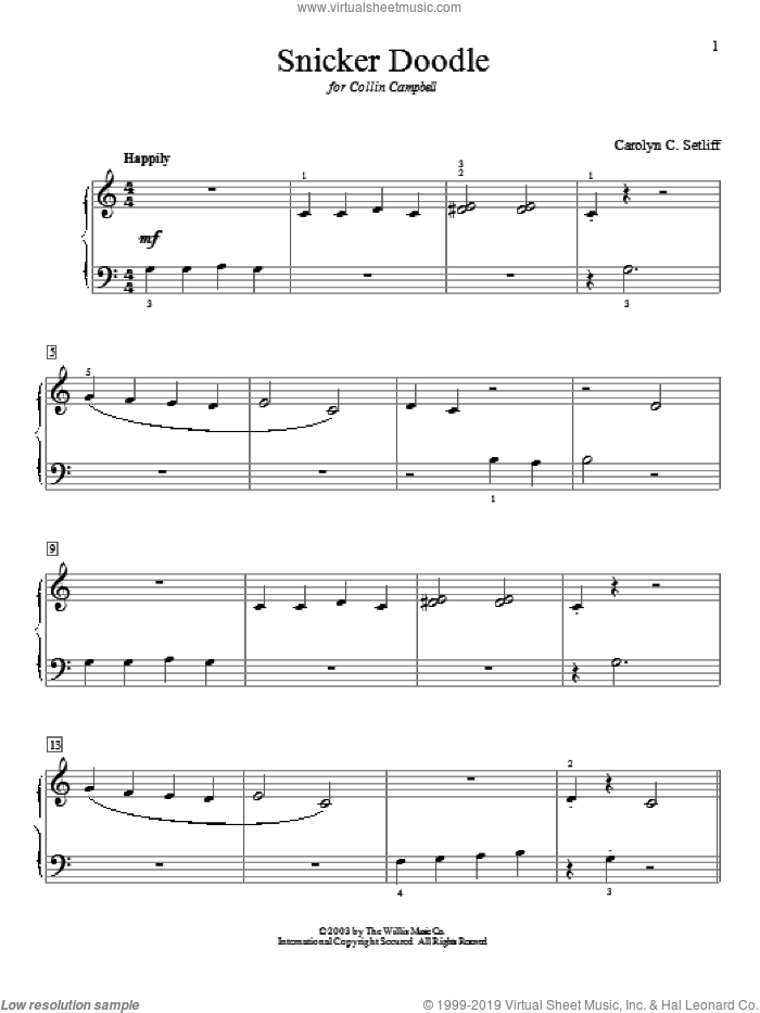 Snicker Doodle sheet music for piano solo (elementary) by Carolyn C. Setliff. Score Image Preview.