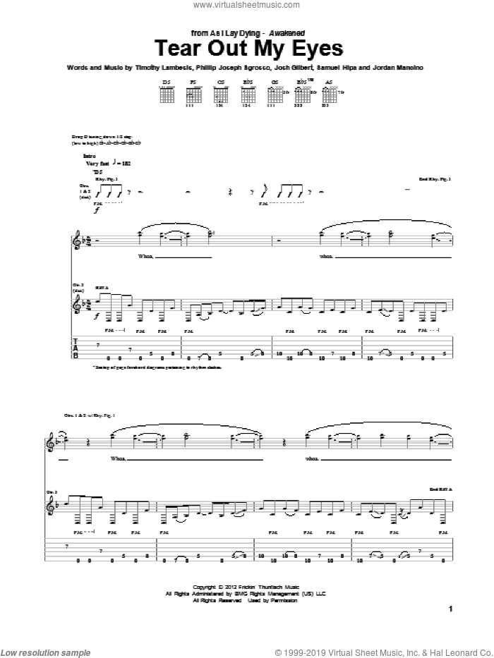 Tear Out My Eyes sheet music for guitar (tablature) by As I Lay Dying, intermediate guitar (tablature). Score Image Preview.