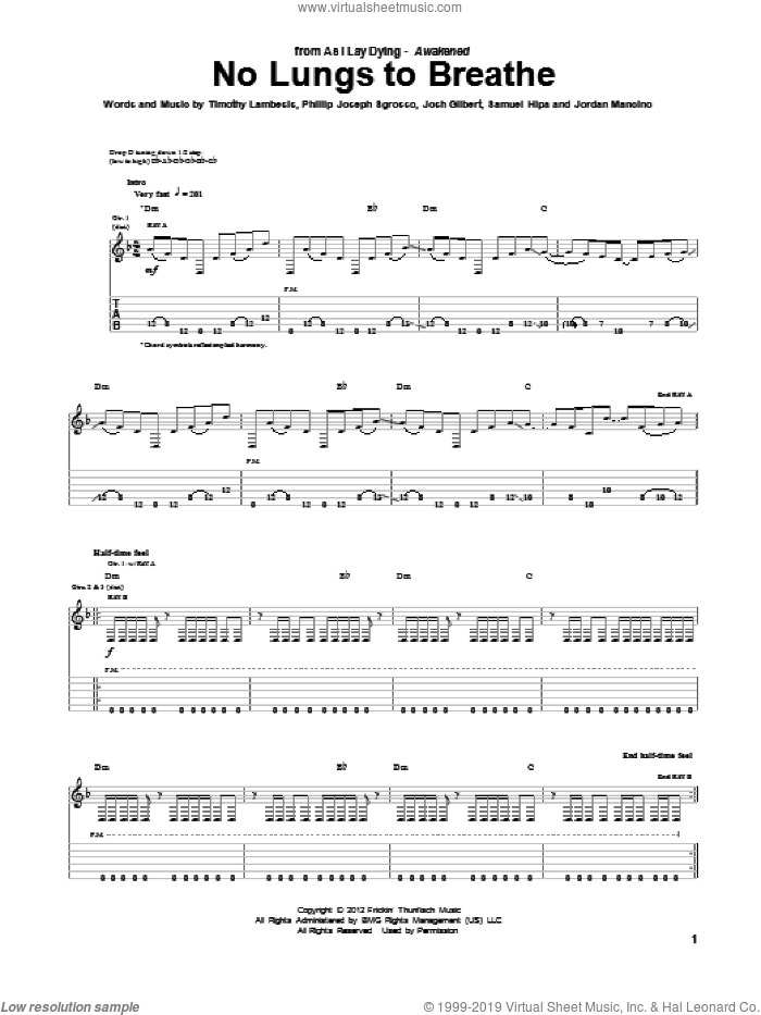 No Lungs To Breathe sheet music for guitar (tablature) by As I Lay Dying, intermediate skill level
