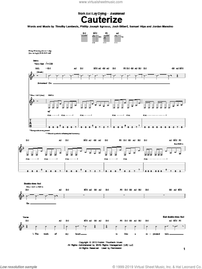 Cauterize sheet music for guitar (tablature) by As I Lay Dying, intermediate skill level