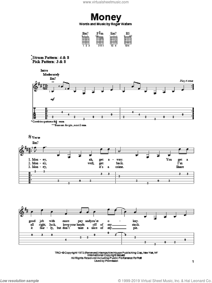 Money sheet music for guitar solo (easy tablature) by Pink Floyd and Roger Waters. Score Image Preview.