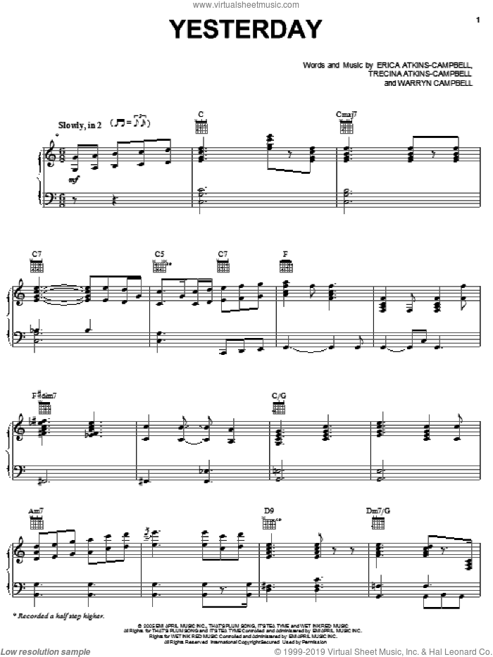 Yesterday sheet music for voice, piano or guitar by Warryn Campbell and Trecina Atkins-Campbell. Score Image Preview.