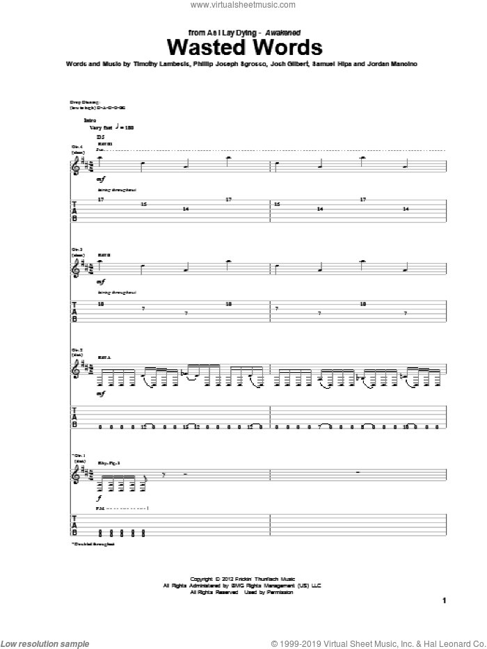 Wasted Words sheet music for guitar (tablature) by As I Lay Dying, intermediate skill level