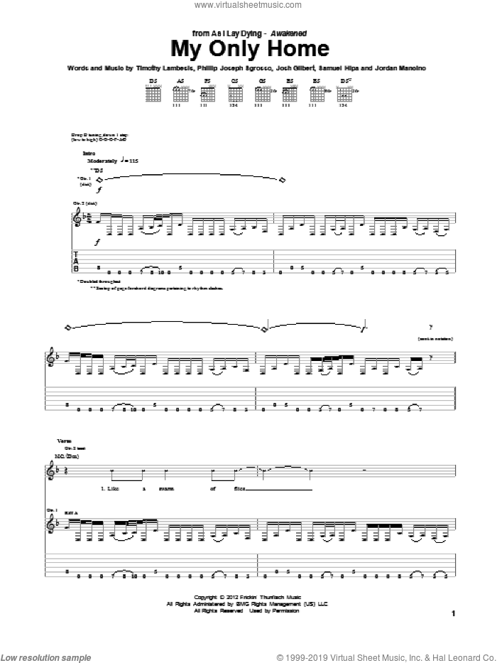 My Only Home sheet music for guitar (tablature) by As I Lay Dying. Score Image Preview.