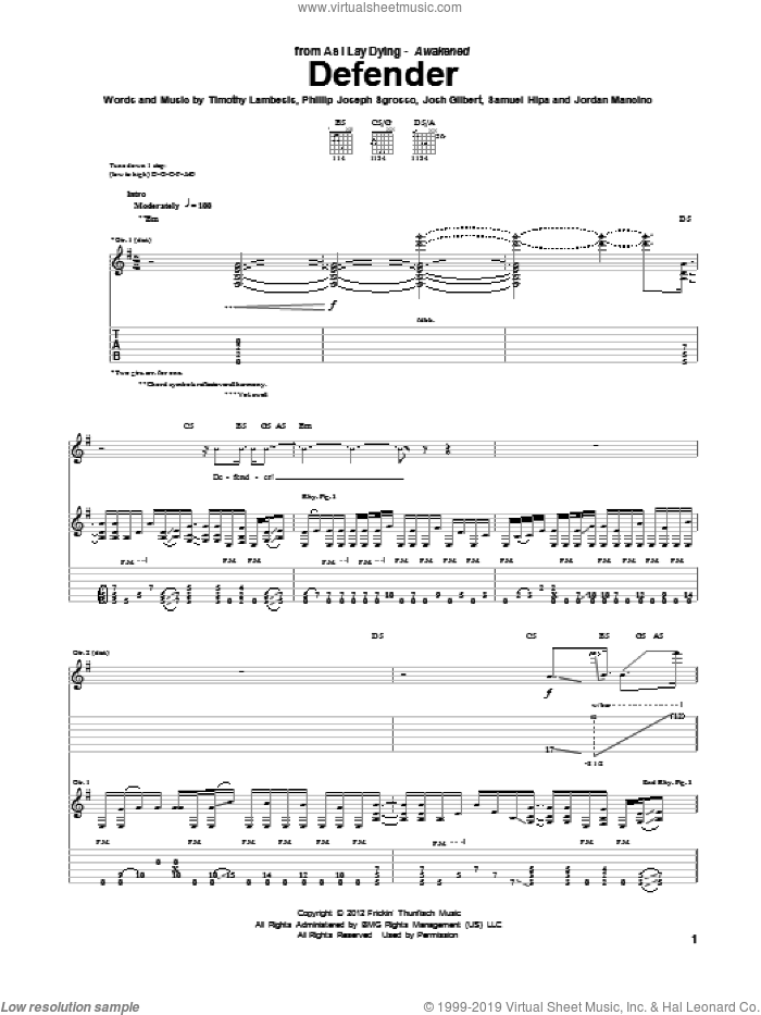 Defender sheet music for guitar (tablature) by As I Lay Dying. Score Image Preview.