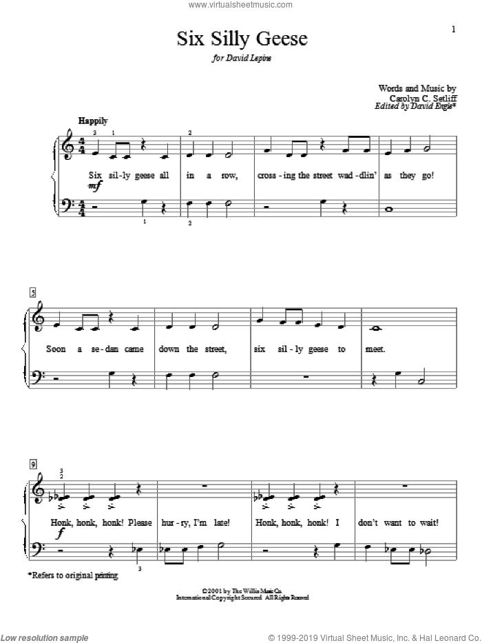 Six Silly Geese sheet music for piano solo (elementary) by Carolyn C. Setliff. Score Image Preview.