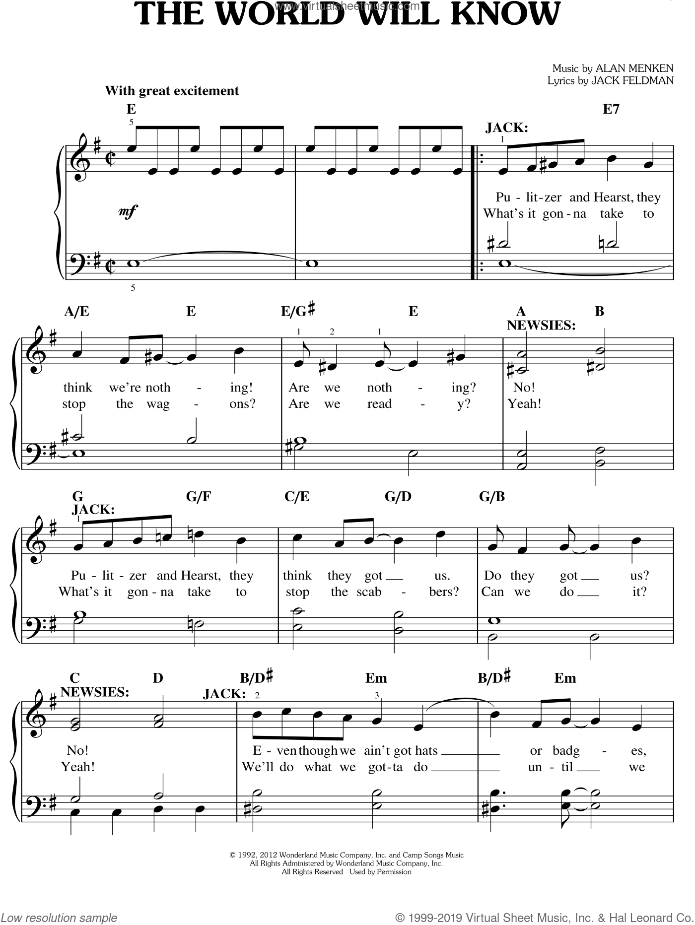 The World Will Know sheet music for piano solo by Jack Feldman, Alan Menken and Newsies (Musical), easy skill level