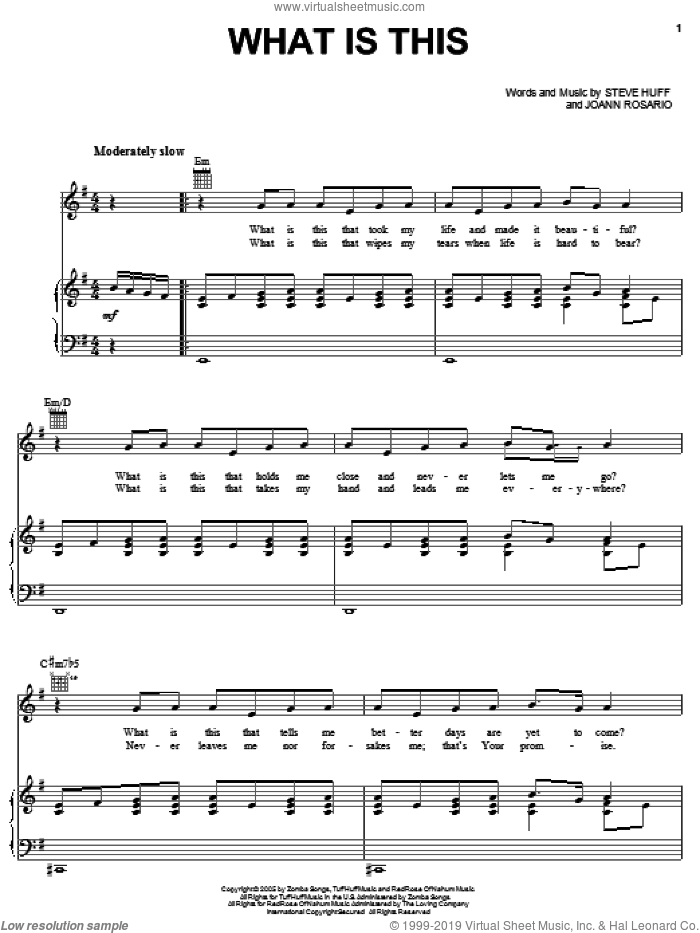 What Is This sheet music for voice, piano or guitar by Mary Mary, Joann Rosario and Steve Huff, intermediate skill level