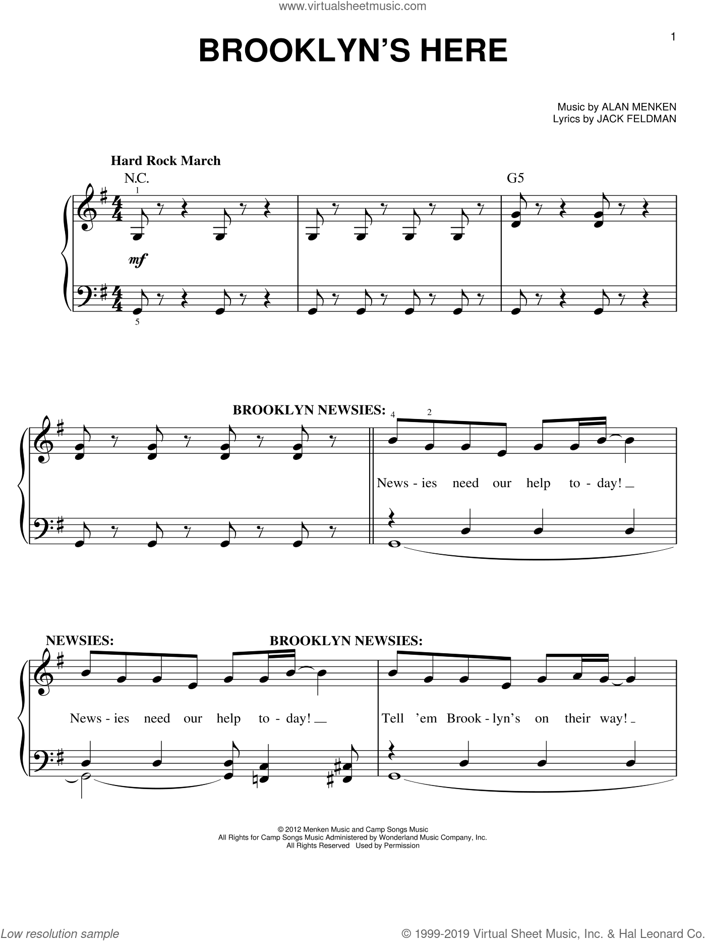 Brooklyn's Here sheet music for piano solo by Jack Feldman and Alan Menken. Score Image Preview.