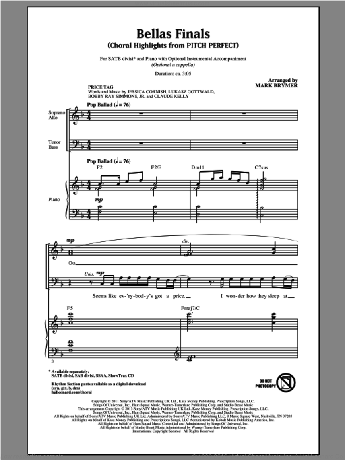 Bellas Finals (Choral Highlights from Pitch Perfect) sheet music for choir and piano (SATB) by Mark Brymer