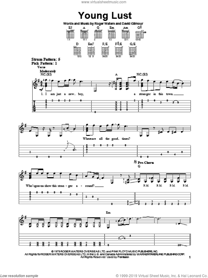 Young Lust sheet music for guitar solo (easy tablature) by Pink Floyd, easy guitar (easy tablature)