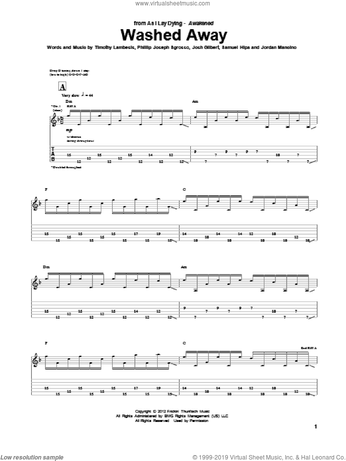 Washed Away sheet music for guitar (tablature) by As I Lay Dying, intermediate skill level