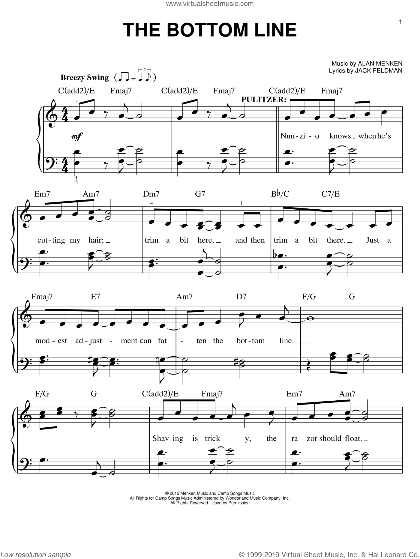 The Bottom Line sheet music for piano solo by Jack Feldman and Alan Menken. Score Image Preview.