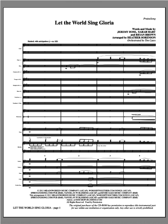 Let The World Sing Gloria sheet music for orchestra/band (full score) by Bryan Brown, Jeremy Bose, Sarah Hart and Heather Sorenson. Score Image Preview.