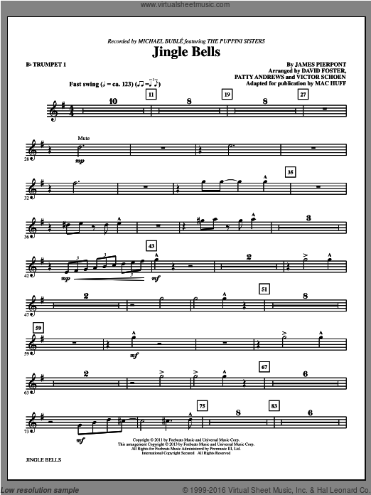 Jingle Bells (COMPLETE) sheet music for orchestra by Mac Huff and Michael Buble. Score Image Preview.
