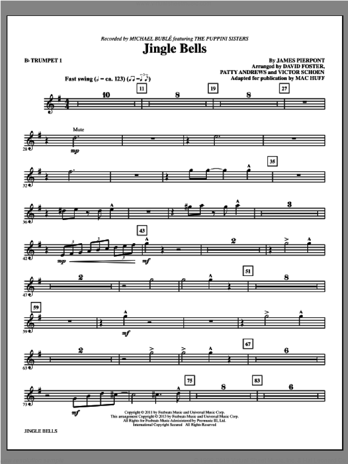 Jingle Bells (complete set of parts) sheet music for orchestra/band by Mac Huff and Michael Buble, intermediate skill level