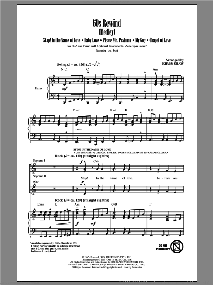 60s Rewind sheet music for choir (soprano voice, alto voice, choir) by Kirby Shaw, intermediate choir (soprano voice, alto voice, choir). Score Image Preview.