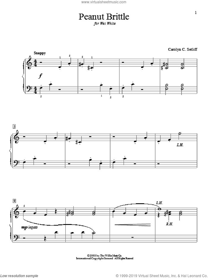 Peanut Brittle sheet music for piano solo (elementary) by Carolyn C. Setliff. Score Image Preview.