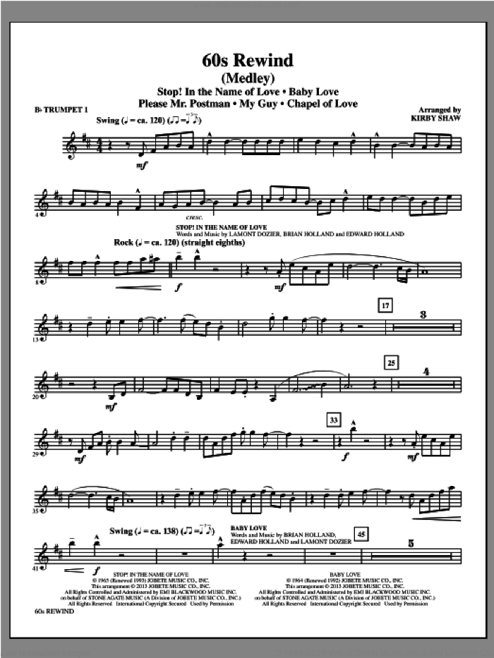 60s Rewind (complete set of parts) sheet music for orchestra/band by Kirby Shaw, intermediate. Score Image Preview.