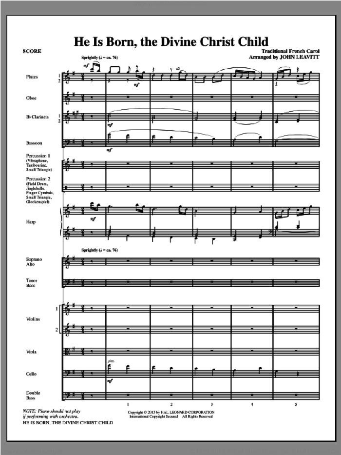 He Is Born, the Divine Christ Child (COMPLETE) sheet music for orchestra/band (chamber ensemble) by John Leavitt, intermediate skill level