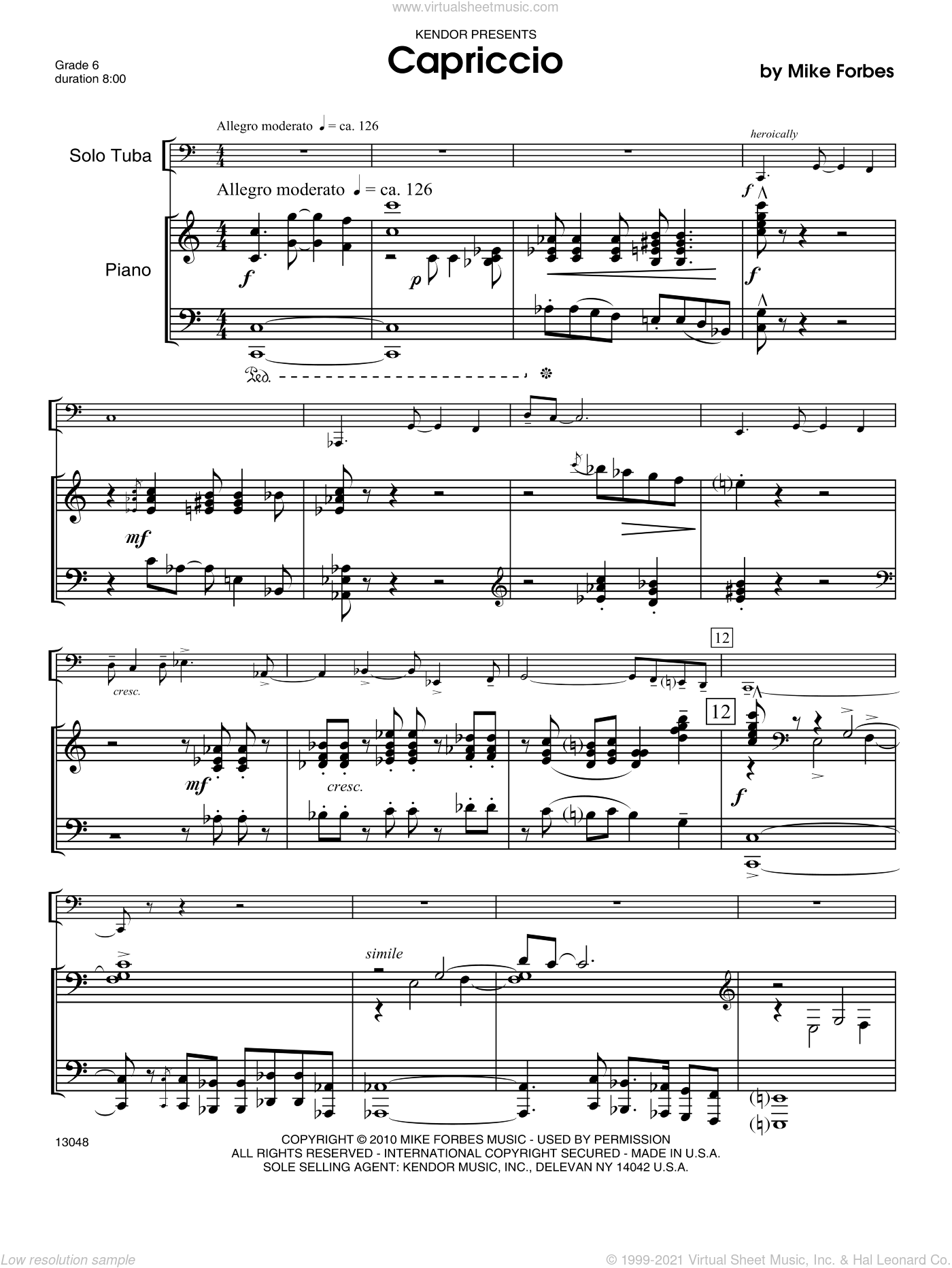 Capriccio sheet music for tuba and piano (piano/score) by Forbes