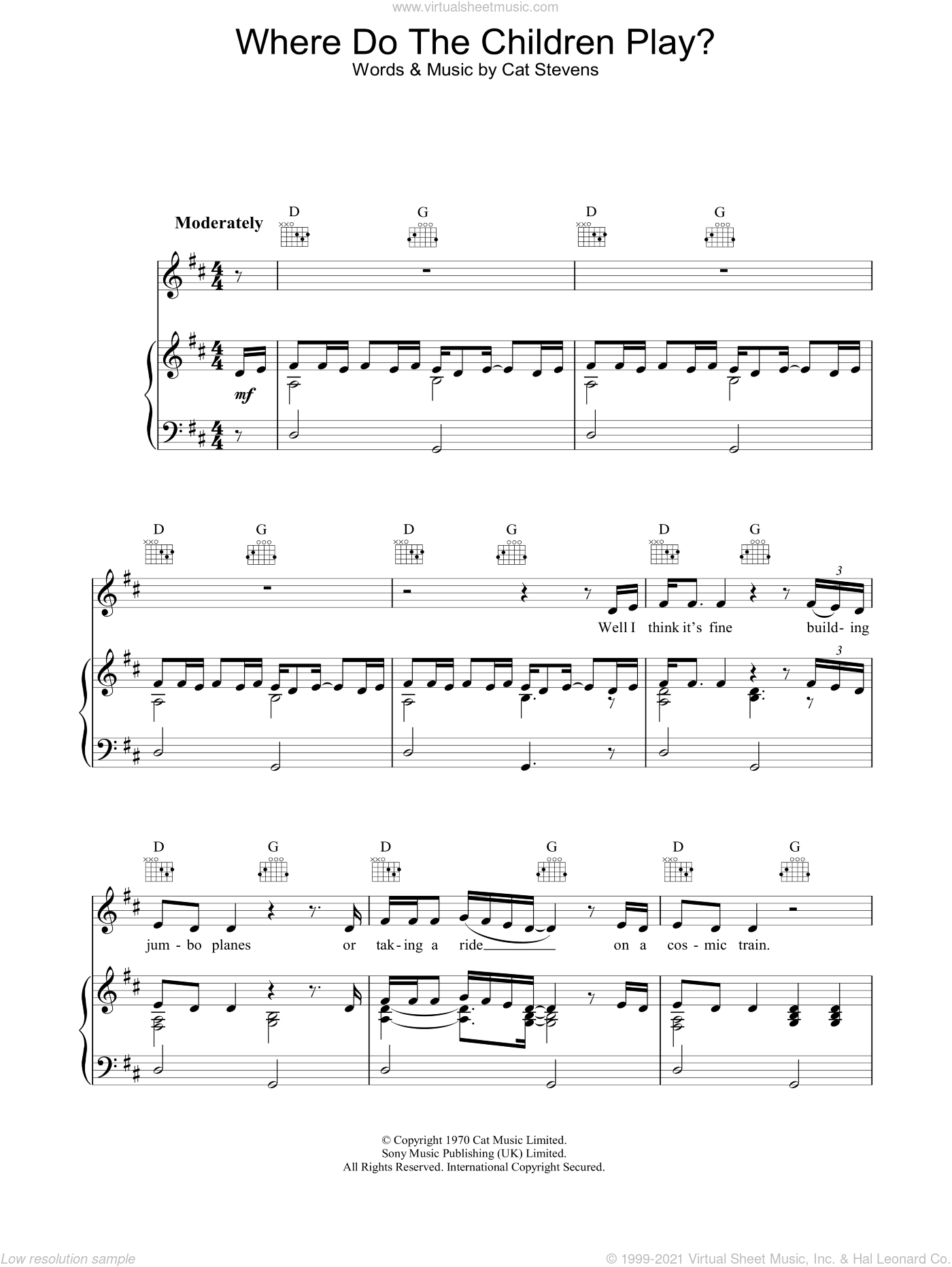 Where Do The Children Play? sheet music for voice, piano or guitar by Cat Stevens. Score Image Preview.
