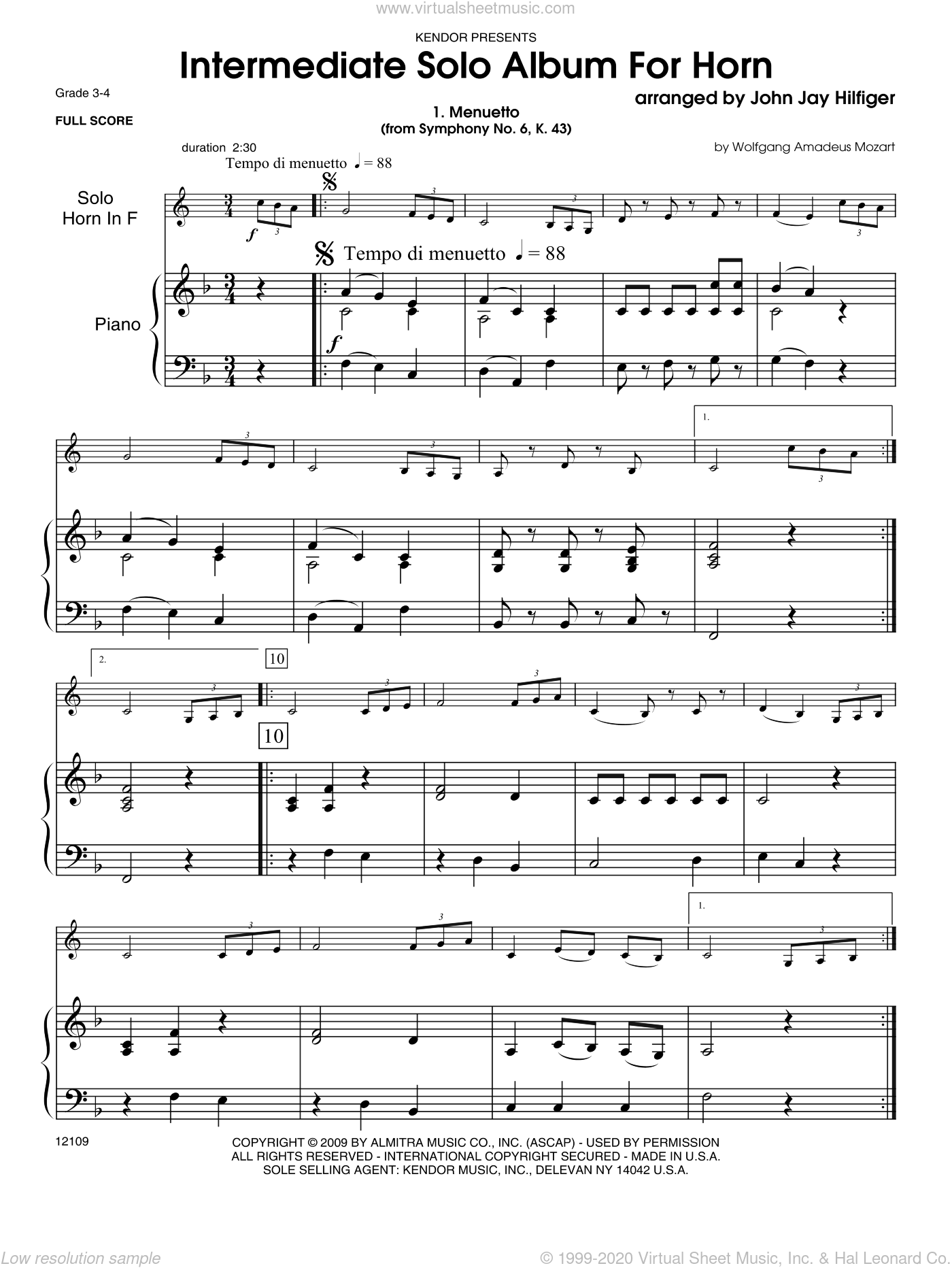 Intermediate Solo Album For Horn sheet music for horn and piano (piano/score) by Hilfiger