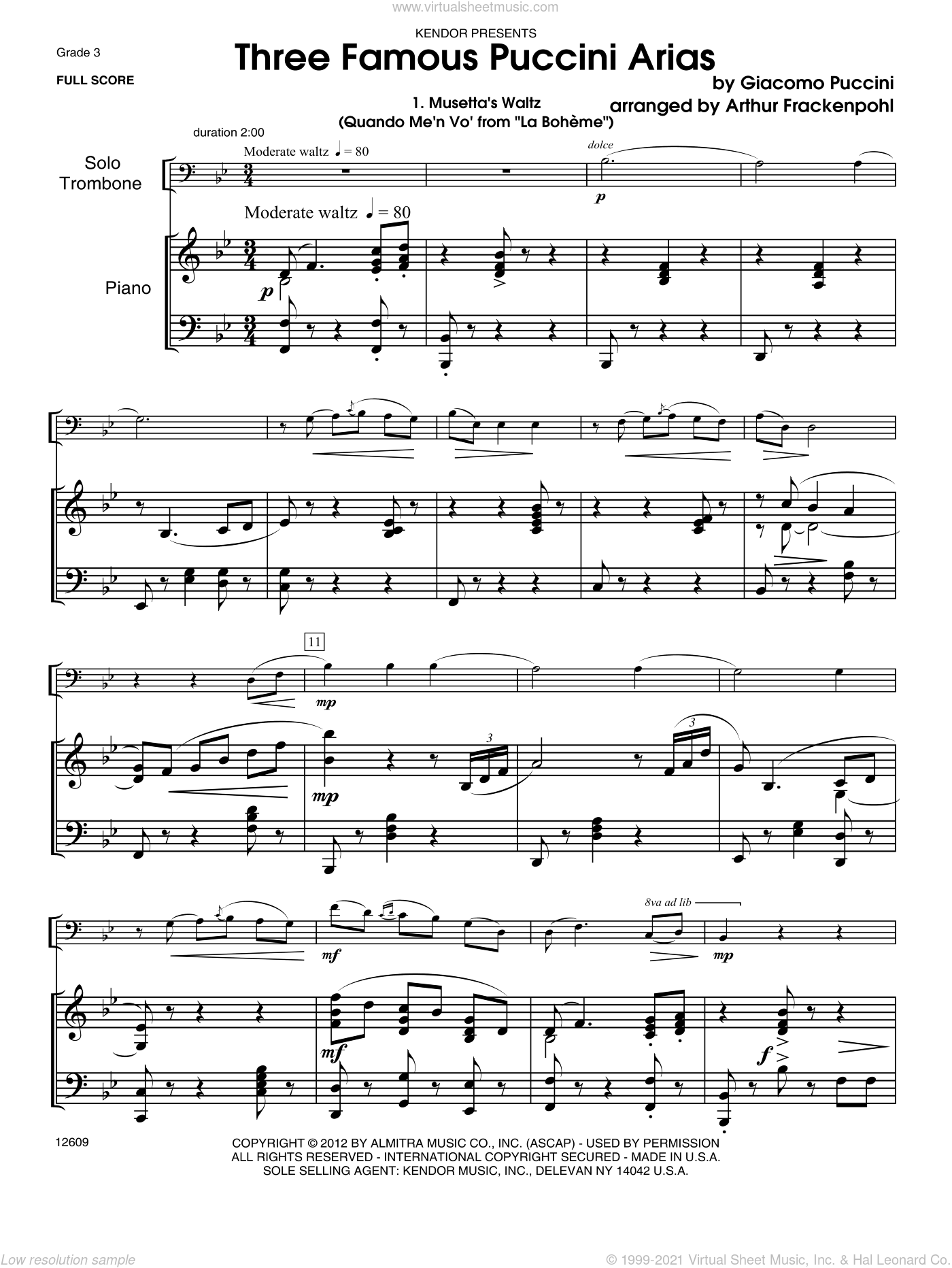 Three Famous Puccini Arias sheet music for trombone and piano (piano/score) by Giacomo Puccini