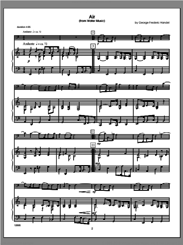 Wedding Masterworks, trombone sheet music for trombone and piano (piano/score) by Halferty