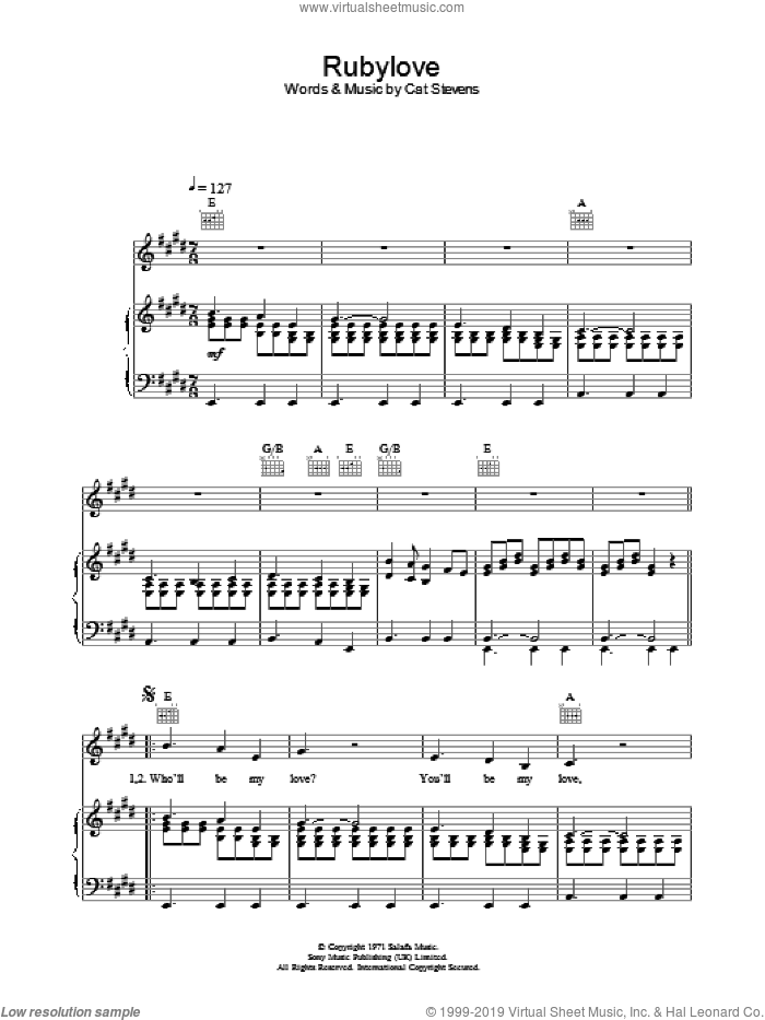 Rubylove sheet music for voice, piano or guitar by Cat Stevens, intermediate. Score Image Preview.