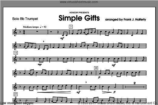 Simple Gifts (COMPLETE) sheet music for trumpet and piano by Halferty