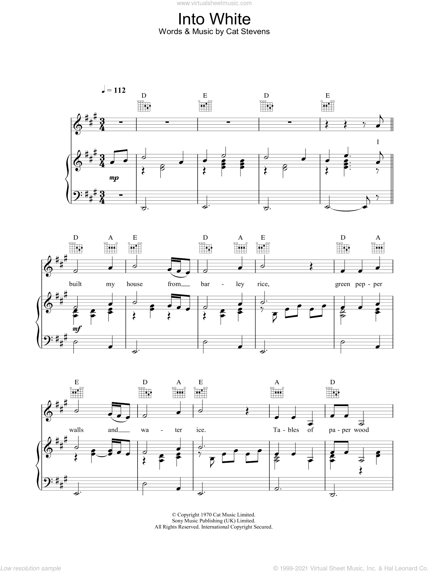 Into White sheet music for voice, piano or guitar by Cat Stevens, intermediate skill level