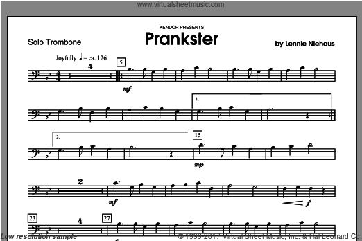 Prankster (COMPLETE) sheet music for trombone and piano by Lennie Niehaus